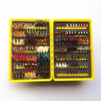 Wholesale Vintage Fly Fishing - free shipping 14 dozen vintage dry and wet fly lure bass bait lure stream trout fishing
