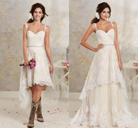 Wholesale popular gardening - 2018 Hi-lo Popular A Line Full Lace Wedding Dresses Sexy Spaghetti Straps Backless Summer Beach Short Bridal Gown with Detachable Train