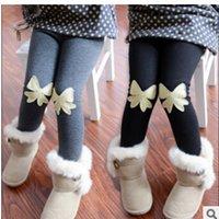Wholesale Korean Children Floral Leggings - 2015 winter New Korean type children solid color velvet Joker stretch skinny leggings girl's pants grey ,black color
