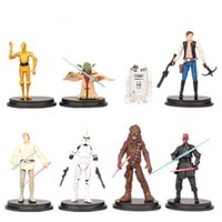 Wholesale Collections Etc Wholesale - 8pcs lot Cartoon Star Wars Action Figure R2 Jedi Chewbacca Etc Clone Figures Model Toys Collection Anime Toys for Kids Gifts