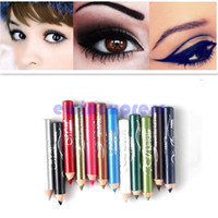 Wholesale Eye Lip Pencil Sets - Brand New and High Quality Eyeliner 12 Colors Glitter Lip liner Eye Shadow Liner Combination Pencil Makeup Cosmetic Sets