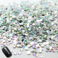 berrak sanat çantaları toptan satış-Nail Art Rhinestone! 2.0mm TEMIZLE YUVARLAK RHINESTONES ÇİVİ SANATı diamante Kristal AB Yeni Çivi 1000 adet / torba, 2 torba / grup. Toplam 2000 adet