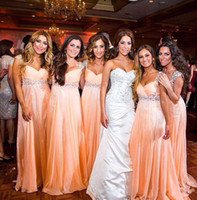 Wholesale long sleeve t shirts junior - Coral Cap Sleeves Beaded Bridesmaids Dresses Long Empire Plus Size Pregnant Maternity Crystal Chiffon Beach Maid Of Honor Party Prom Gowns