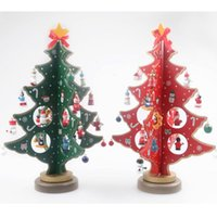 Wholesale Wooden Santa - Wood Gift Wooden Christmas Tree Santa Claus Snowman Reindeer Sleigh Sled Small Pine Trees Mini Christmas Gifts Decorations With Pendants