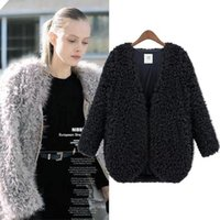 Wholesale Fur Coats For Sale - Wholesale-New 2015 for Winter Coat Women Hot Sale Fashion Women Coat Knitwear Long Sleeve Loose Faux Fur Cardigan Winter Coat Jacket