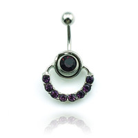 Wholesale Navel Ring Purple - Body Piercing Fashion Belly Button Rings Stainless Steel Barbell Dangle Purple Rhinestone Circle Navel Rings Jewelry