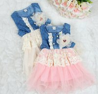 Wholesale Jeans Pleated Dress - denim lace dresses children tutu princess dress pleated dress girl sleeveless lace hollow out mini dress kid girl summer jeans with flower