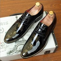 Wholesale Black Patent Leather 37 - Luxury Fashion Men's Black Dress Shoes Patent Leather Special Designer Pattern Qshoes Leisure Oxford Shoes 37-46
