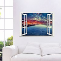 Wholesale Sea Poster Landscape - 3D Window View Sea Scenery Wall Art Mural Decor Living Room Bedroom Background Wall Applique Poster Home Art Decal Sticker