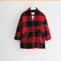 Wholesale Trench Coat Jacket For Boys - Wholesale-New Arrival Girls wool coat winter children's grid jackets for girls fashion plaid baby girls overcoat trench girls coat
