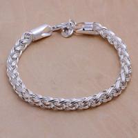 pulsera de enlace de la libra esterlina al por mayor-Venta caliente mejor regalo 925 plata Twisted Circle Pulsera DFMCH070, nueva moda 925 pulseras de enlace de cadena de plata