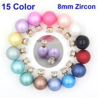 Wholesale Matte Earrings - New Arrival 15 Colors Double Sided Matte Pearl 8mm CZ Zircon Studs 16mm Pearl Ball Earrings cc stud earrings for Bridal Earrings