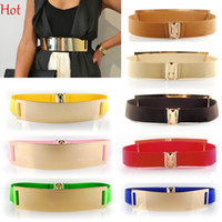 Wholesale Bronze Bling - Top Hot Fashion Women WaistBelt Long Circle Elastic Leather Body Shaping Bling Metal Belts Cummerbund Mirror Belt Dress Waistband SV001688