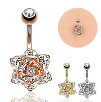 Wholesale 14g Earrings - 1Pc Hot Clear Surgical Steel Trendy Rose Belly Buttoning Women Sexy Body Piercing Jewelry Belly Button Rings Earrings 14G