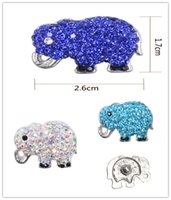 Wholesale Elephant Animal Bracelet - 6 colors Noosa Accessories Snap Buttons Fashion Pierced Crystal Metal Ginger Clasps DIY Noosa Chunk Jewelry bracelets animal elephant button