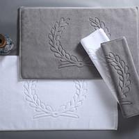 Wholesale Towel White Hands - drop shipping new 100% Cotton mat Hotel Home Flool Towel Bathroom Carpet Absorbent Non-slip Bath Mat Step Foot Pad Toilet Rugs 45*75 80*50
