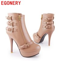 Wholesale Red Heels Kvoll - Wholesale-2015 free shipping Kvoll ladies fashion high heels buckle zip medium canister boots X3875 and retail shoes ankle boots size34-39
