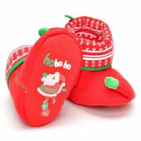 baby santa schuhe groihandel-Winterbaby scherzt Weihnachtsschuhmädchen-Jungenbaby bequeme warme rote Wandererschuhe Weihnachtssankt-Schuhe Größe 12/13/14