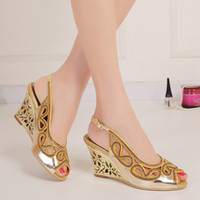 Wholesale Strap Ons For Women - Fashion Rhinestones Wedding Shoes Wedge Sandals For Brides 8cm High Heel Slingback Hollow Out Heel Crystals Shoes Women Peep Toe Slip-ons