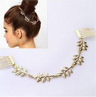 Wholesale Grecian Wholesalers - Canlyn Jewelry New Hair Jewelry Vintage Chain Hair Combs Gold Plated Grecian Leaf Hairpin for Women CF021