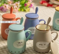 Wholesale Ceramic Drink Cup - Vintage ceramic milk cup with spoon cute belly Mug bone china coffee cup creative lovers cup with cover drinking water bottle 400ml