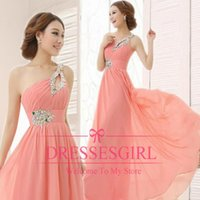 Wholesale Cheap Sequin One Shoulder Dress - 2015 Cheap Prom Dresses Sexy Backless One Shoulder Ruffle Beaded Sequins Chiffon Floor Length Bridesmaid Evening Crystal Party Gowns