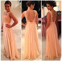 Wholesale Pretty Bridesmaids Dresses Red - 2015 vestido de dama de honra New Backless Wedding Party Dress Chiffon Pretty Nude Back Lace Coral Long Evening Bridesmaid Dresses BO3384