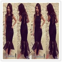Wholesale Income Short - New Hot Sexy Women's foreign trade round neck sleeveless dress fishtail skirt A1174 income hip pockets