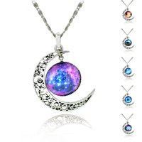 Wholesale Sterling Silver Fashion Jewerly - Brand Sterling Silver Jewelry Fashion Moon Statement Necklace Glass Galaxy Lovely Collares Necklace&Pendants Fine Jewerly