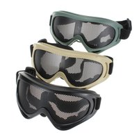 Wholesale Tactical Glasses Nets - New Hot Sale Outdoors Hunting Airsoft Net Tactical Shock Resistance Eyes Protecting Outdoor Sports Metal Mesh Glasses Goggle