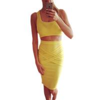 ingrosso abito spandex giallo-New Style Summer Dress Nero Casual 2 Piece Set Women White Office Dress Sexy Yellow Dress Donna Clubwear Vestido De festa