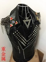 Wholesale Leather Motorcycle Vest Jacket - Fall-discount mens males punk Rock nightclub singer DJ DS tassel Epaulet stage costumes Metal rivet leather motorcycle vest jacket