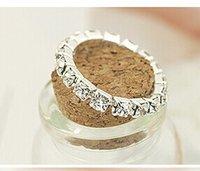 Wholesale Elastic Crystal Toe Rings - New Rhinestone Finger Rings Silver Crystal Toe Ring Elastic Body Jewellery