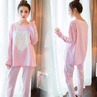 Wholesale Home Wear Pajamas Sleepwear - Women Pajamas Sets 2017 Autumn Long Sleeve Thin Cotton Home Wear Cloth Cartoon Print Loose Sleepwear Set Pyjama For Woman