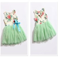 Wholesale Girls Floral Dress Green - Summer Hot sell girls floral Bowknot tulle tutu dress children Multi-layer vest princess dress kids holiday dress pink green rose red A5706