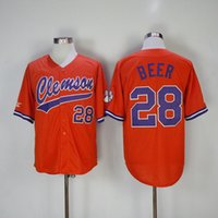 Wholesale Beer Baseball - Clemson baseball Jersey 28 Seth Beer Home Away White Purple Orange Stitched