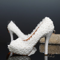 New Platform Beautiful Pearl Lace White Wedding Shoes Peep Toe Mulheres Bombas Party Dance Sexy Shoes de salto alto tamanho 34-39