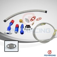 Wholesale Return Oil - PQY STORE- T3 T4 T3 T4 T70 T66 TO4E Turbo Oil Feed Line Oil Return Line Oil Drain Line Kit blue and red PQYTOL21