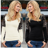 Wholesale long sleeved lace - Summer women t-shirt 2017 fashion new autumn large size stitching leopard long-sleeved T-shirt round neck pullover bottoming