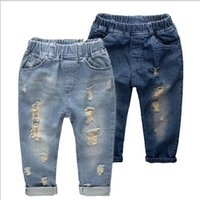 Wholesale Baby Girls Jeans Clothes - Hot sale Ripped jeans for kids Fashion denim children's clothing baby boys girls jeans for children brand slim casual pants free shipping