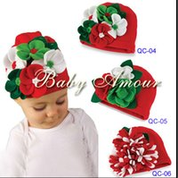 Wholesale Beautiful Baby Boy Cap - Baby girls boys beautiful big flower hand-made Knitted babyamour Christmas spring autumn winter Cap children hat HOT SALE 10pcs lot