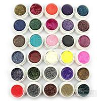 Wholesale Post Uv Gel - Hong Kong Post Mail Freeshipping-30 Colors Glitter Powder UV Gel for UV Nail Art Tips Extension Deco