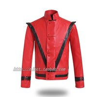 Wholesale Michael Jackson White Jacket - Fall-2015 New DJ Design Michael Jackson leather thriller Red jacket All Size and Costume Made Jacket