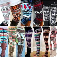 Wholesale Christmas Leggings Wholesale - Winter Christmas Snowflake Knitted Leggings Xmas Warm Stockings Pants Stretch Tights Women Bootcut Stretchy Pants OOA3442