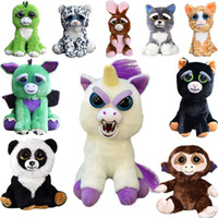 Wholesale Plastic Doll Faces - Feisty Pets Plush 22cm One Second Change Face Animal Plush Toys Cute Expression Kids Stuffed Doll 13 Styles 20pcs OOA3486