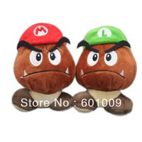 "Wholesale Luigi Plush Hat - Free Shipping Super Mario Bros Plush Toy Soft Doll Goomba With Mario & Luigi Hat Doll 6"" Retail"
