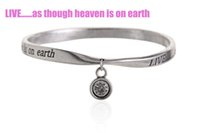 Wholesale Crystal Earth Jewelry - Equilibrium Antique Silver Plated Charm Bangles Engraved Words Live As Though Heaven Is On Earth DIY Ladies Inspirational Jewelry PHSZ15023
