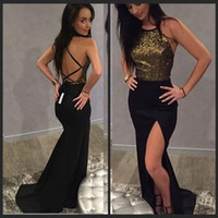 2018 Black Gold Sequined Sparkle Evening Dresses Side Split Prom Gowns Backless Cheap Special Occasion Wear