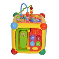 Wholesale Telephone Piano - GOODWAY 3838A Intellect Cube Early Educational Toys with Piano Music Telephone Gear Function Baby Kids Gift