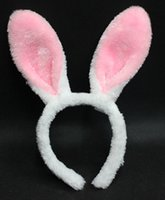 cintas de cosplay al por mayor-Accesorios de Halloween Cosplay Kawaii Bunny Ears Headbands Lovely Long Rabbit Ear Headbands Fancy Prom Party Joyería para adultos niños M26